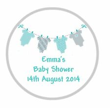 24 Personalised Round Baby Shower Stickers Labels Blue Bunting