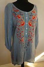 NEW Johnny Was Rayon Embroidered Bohemian Olivia Blouse Top Tunic Shirt Fog S