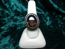 Vintage Estate 925 Sterling Silver ring oval faceted smokey topaz size 10