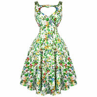 Hearts & Roses London Green Floral Vintage 50s Prom Swing Flared Dress UK