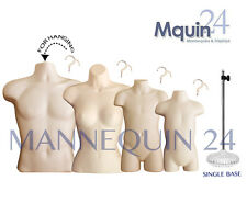 4 FLESH MANNEQUINS: MALE, FEMALE, CHILD & TODDLER BODY FORMS +4 HANGERS +1 STAND
