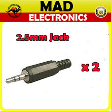 2.5mm Stereo Black Male Audio Jack Plug Solder Type Pack of 2