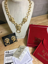 KJL Goldtone Simi Valley LION Door Knocker Necklace & Earrings SET