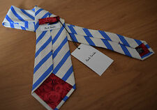 "Paul Smith PALE BLUE TIE ""MAINLINE"" 10mm Stripe Classic Tie. Rose Back detail"