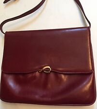 Vintage Auth Salvatore Ferragamo Red Bordeaux Leather Shoulder Bag Purse NWT