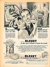 PUBLICITE ADVERTISING 124  1956  BLEUET   le petit réchaud butane
