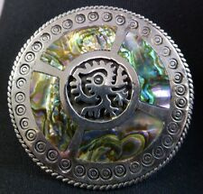 Vintage Signed Jose Anton Sterling Silver Abalone Inlay Taxco Mexico Brooch Pin