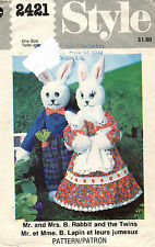 """1970's VTG Style Mr. and Mrs. Rabbit and the Twins Pattern 2421 Size 19"""" UNCUT"""