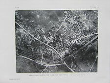 1918 WW1 WWI PRINT ~ BELLENGLISE SHOWING EXITS FROM THE TUNNEL AERIAL VIEW