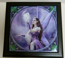 "Anne Stokes Designer Fantasy Art Tile Wooden Box ""Celtic Fairy"" w/ Round Mirror"