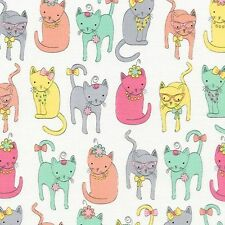 Dressy Cats 100% Cotton Fabric White Children  1/2 mtr Timeless Treasures