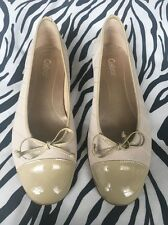 Gabor Quilted Ballet Flat Pumps With Patent Leather Toe Cap In Beige Size 6.5