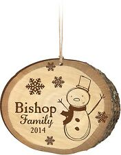 Personalized Laser Engraved Christmas Ornament, Birch Print w/ Snowman