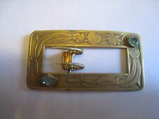 Antique Brass Tone Women's Floral/Cattails Belt Buckle W/Blue Glass Rhinestones