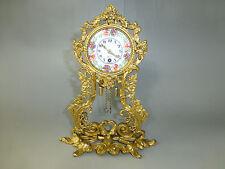 Rare Antique German Gold Gilt Ormolu Ornate Mantel Pendulum Clock Enamel Face