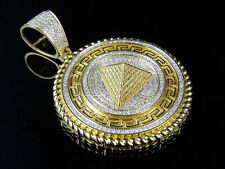 Men's 10K Yellow Gold Real Diamond Egyptian Greek Pyramid Charm Pendant 1.0CT