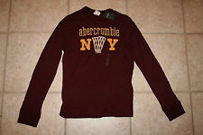 NWT Abercrombie Boys Large LS Maroon Basketball Muscle Fit Shirt LAST ONE!