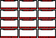 LOT OF 12 RED CUSTOM BUSINESS NAME PHONE NUMBER advertise License Plate Frames