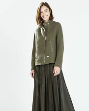 ZARA KHAKI GREEN JACKET WITH BUCKLED STRAP ON COLLAR SIZE M