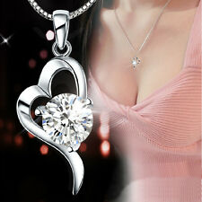 Womens 925 Solid Silver Necklace Crystal Heart Pendant Jewelry Gift