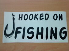 fun hooked on fishing hook vinyl car boat van sticker shop sign wallart fish new