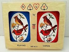 Vintage KEM Nova Cardinal Birds Playing Cards Gold Case 2 Double Deck No Jokers