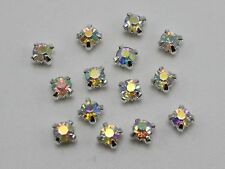 250 Silver with Clear AB Crystal Glass Rose Montees 4mm Sew on Rhinestones Beads