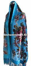 Handmade Elegant 100% Silk Burnout Velvet Vintage Floral Scarf Wrap, Turquoise