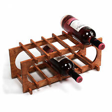 6 Bottle Wine Rack Wooden stand Countertop storage holder display cellar