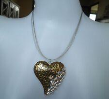 Collier fantaisie coeur-strass diamant-orange-coeur métal doré-léopard-panthère