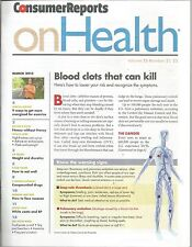 Consumer Reports On Health March 2013 Blood Clots/Endocopies/Rosacea