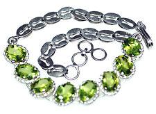 Rhodium plated 925 Sterling SILVER Bracelets Natural Peridot Gemstone Bracelet