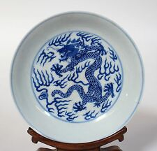 A Chinese Imperial Antique Blue and White Dragon Plate Guangxu Mark and Period