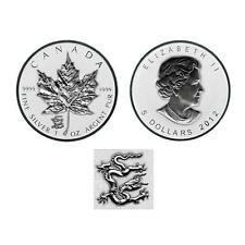 2012 Reverse Proof Canadian 1oz  Silver Maple Leaf Coin  Dragon Privy in capsule