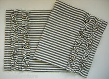 "Black and Off White Ticking Stripe Table Runner 100% Cotton 36"" with Ruffles"