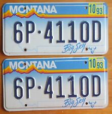 Montana 1993 GALLATIN COUNTY License Plate PAIR # 6P-4110D