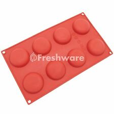 Freshware 8-Cavity Silicone Round Cookie, Chocolate, Candy and Crafts Mold