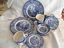 VINTAGE Liberty Blue White 24 Dishes, Monticello, Betsy Ross, Independence Hall