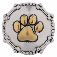 1 PC - 18MM Paw Print Bones Gold Silver Charm for Snap Jewelry KC5111 CC2944