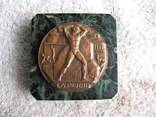 """Georges RIDET """"La PIERRE"""" 60mm Bronze Medal/Medallion on Marble Paperweight"""