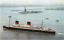 "FRENCH LINE ""LIBERTE"" - Vintage Postcard - 1950's NY Harbor & Statue of Liberty"