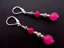 A PAIR OF PINK JADE SILVER PLATED DROP DANGLY LEVERBACK HOOK EARRINGS. NEW.