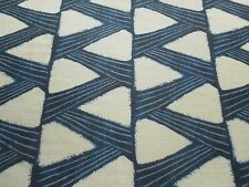 Zoffany Curtain Fabric KANOKO 2.45m Indigo Blue - Linen Mix Zig Zag Design 245cm