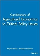Contributions of Agricultural Economics to Critical Policy Issues
