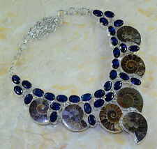 "GIANT! AMMONITE FOSSIL+IOLITE NECKLACE 21""; 118 GRAMS; YK345"