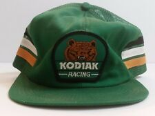 Vintage Kodiak Racing Hat, Grizzly Bear Patch, Snapback Mesh Trucker Cap