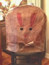 Primitive Grubby Easter Bunny Rabbit Chair Back Cover  Spring Easter Decor