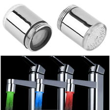 Temperature Sensor LED Light Water Faucet Tap 3 Color RGB Glow Shower BY