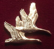Lovely Pair Pewter Flying Swans Pin Brooch