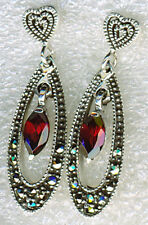 "925 Sterling Silver Marcasite & Garnet Drop / Dangle Earrings   1.1/4"" LENGTH"